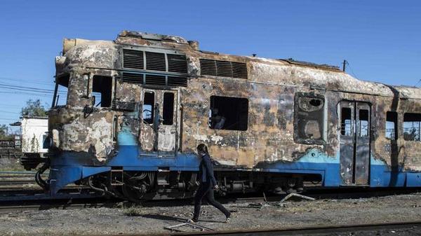 Burned train in Ilovaisk