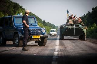 Checkpoint of the Netherlands Military Police in East Ukraine