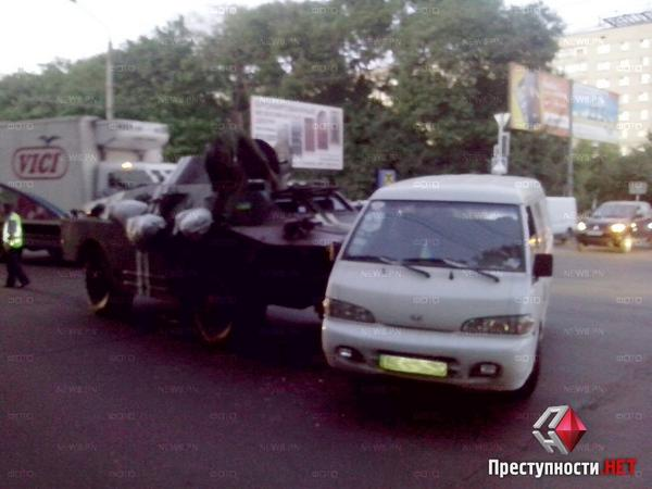 Road accident with APC in Mykolaiv