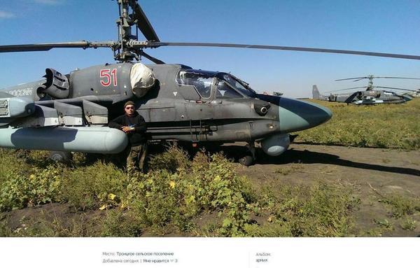 Russian combat helicopters Ka-52 Alligator on the border of Ukraine
