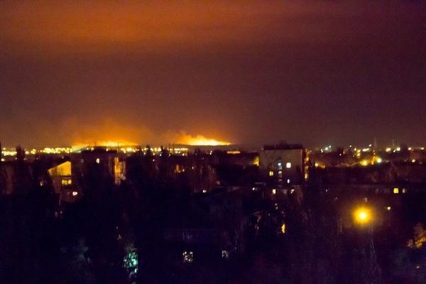 Fields burning in Mariupol