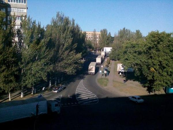 Third Russia|n aid convoy in Donetsk this morning