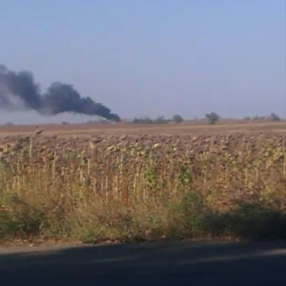 Burning checkpoint near Zhdanivka