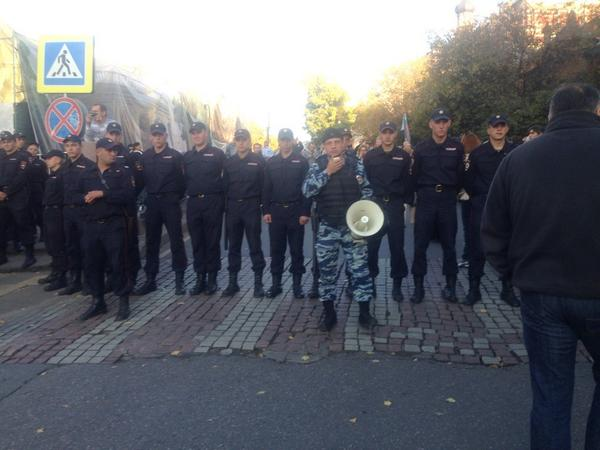 Police at the rally in Moscow