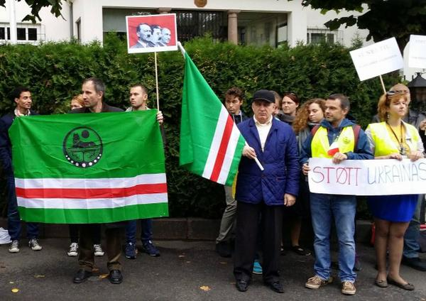 In Oslo rally against Russian aggression, which was attended by representatives of the Chechen and the Ukrainian Diaspora