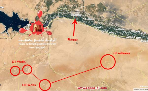 Raqqa 2-These fields are used by ISIS to extract the oil and then refined in a refinery of al Aekerci Syria