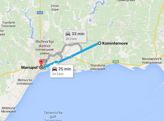 Russian troops shelled checkpoints North of Mariupol and near Kominternove