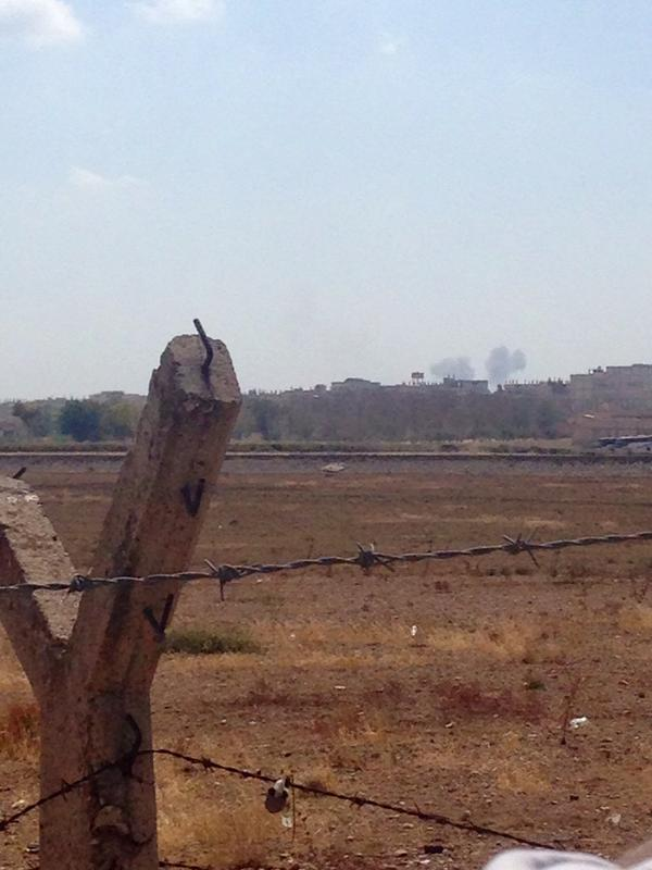 Smoke now from what appears to be shelling in kobane syria