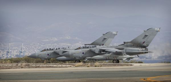 The UK MOD confirms RAF Tornados fly over Iraq from Cyprus following parliamentary approval.
