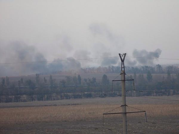 Mariupol. Burning fields after shelling