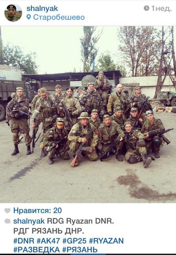 Russian soldiers from Ryazan last week in Starobeshevo, south of Donetsk