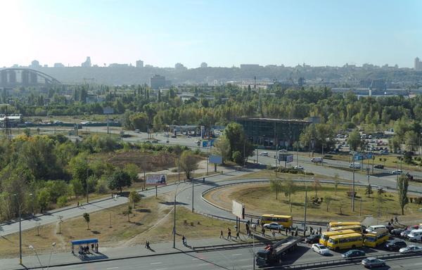 Truck blocked road in Kyiv