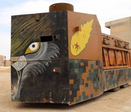 Homemade Kurdish armored vehicle fighting ISIS in Syria