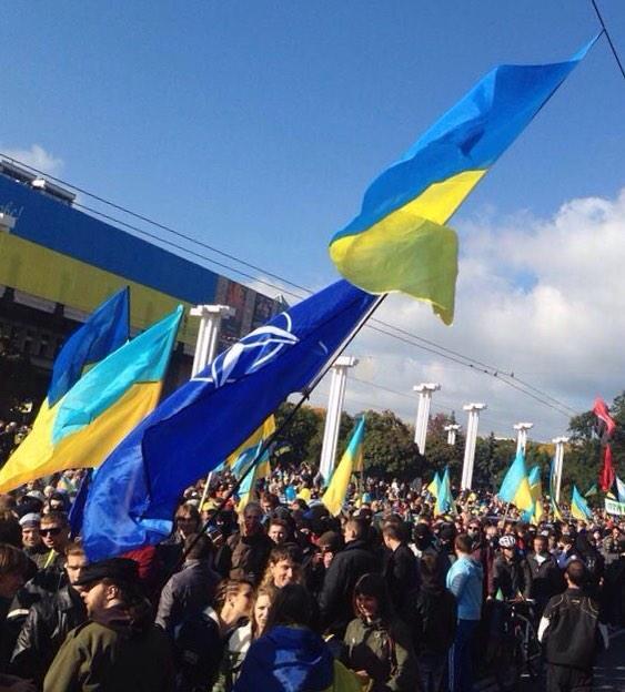 NATO flag at rally in Kharkiv