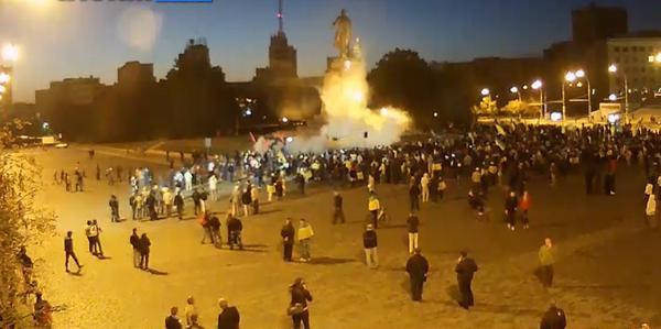 Kharkiv celebrating and enjoying. Music, flying firecrackers.