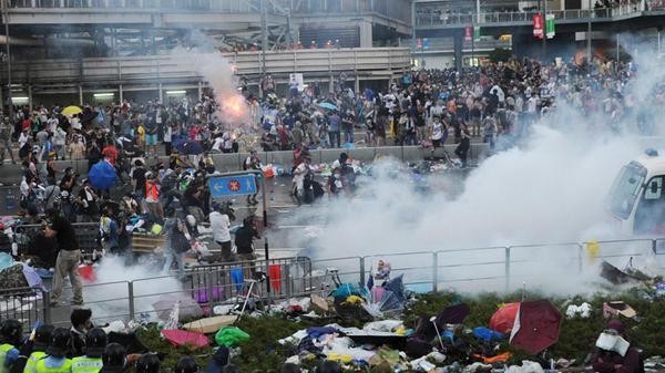 Teargas and pepper spray as thousands-strong HongKong protest turns violent