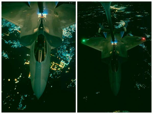 US Air Force F-22 Raptor fighter aircraft prior to strike operations in Syria against ISIL