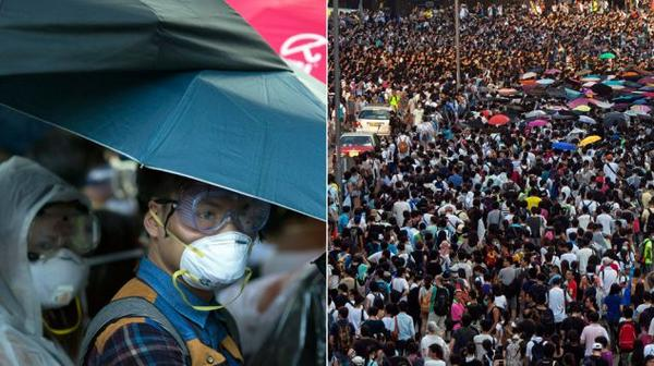 Umbrella revolution in Hong Kong. Young people struggle for democracy