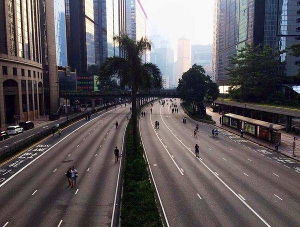 Empty highways downtown as Hong Kong protests.