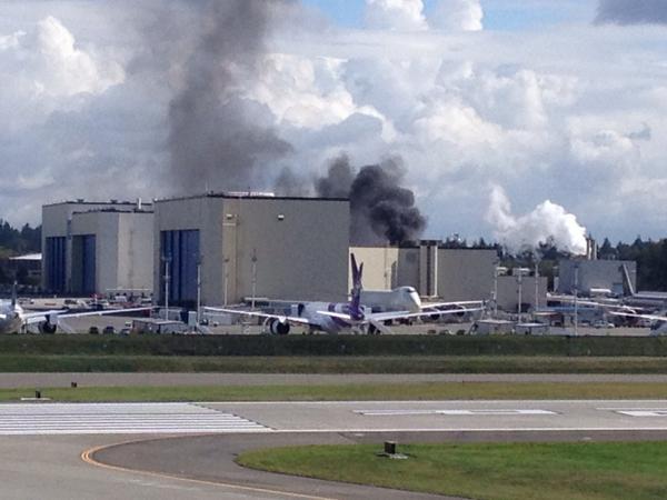 Fire in the 45-03 paint hangar, Boeing Everett in Seattle