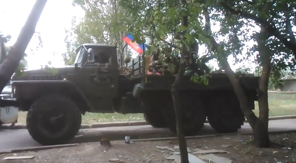Russian forces shelling Donetsk airposrt w/a Ural-mounted ZSU-23-2