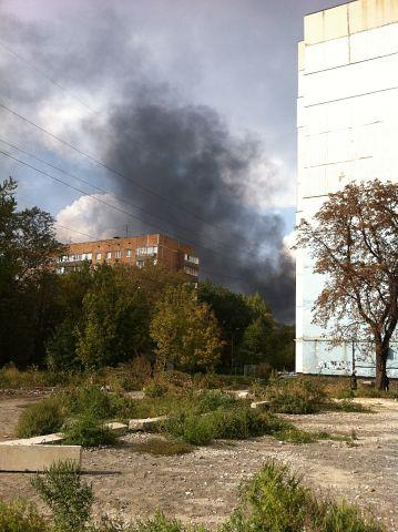 Smoke in the area of Kyiv district Executive Committee Donetsk