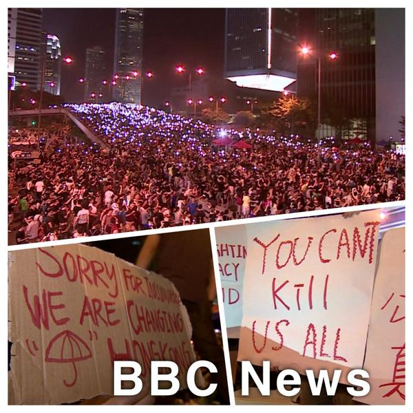 Incredible scenes in HongKong - crowds show no signs of letting up