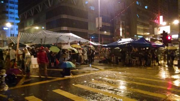 democracy supporters stay strong in HongKong even with the pouring rain OccupyHK