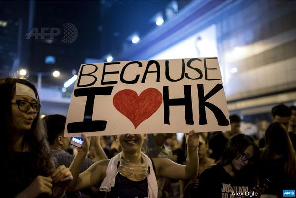 Because I love HongKong, says the poster of the protester
