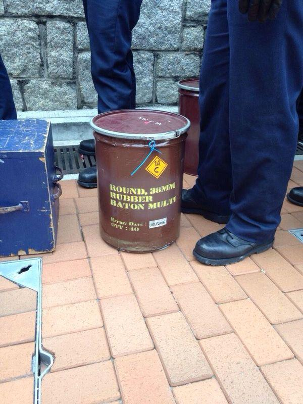 HongKong police seem to be very openly re-supplying riot equipment