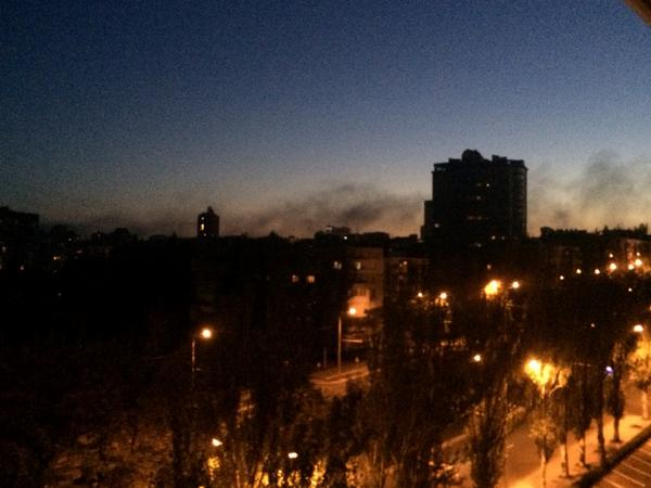 Black smoke over Donetsk center. Shelling was very strong. 3 series of explosions