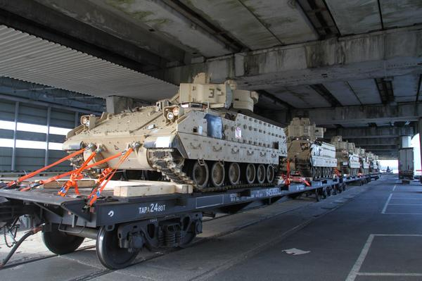 Klaipeda, Lithuania - Bradley Fighting Vehicles en route to Estonia for joint exercises in Operation Atlantic Resolve