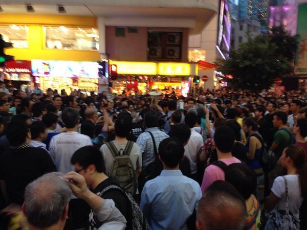 Anti crowd has loudspeaker and its loud