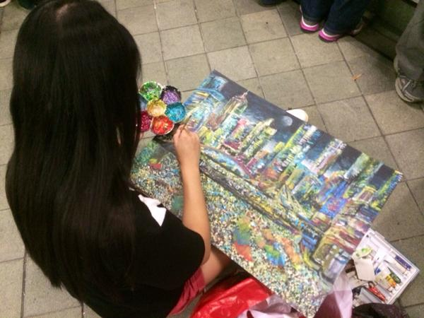 Blown away by creativity+enthusiasm so many of the students exhibit like this girl in admiralty after so many days.