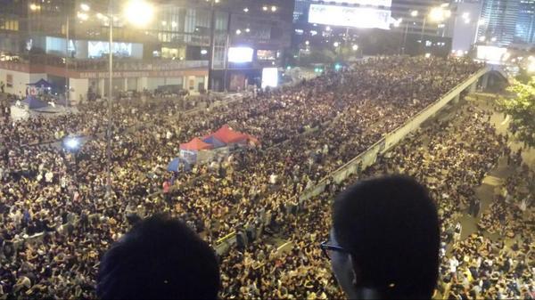 Hong Kong 20:55. Atmosphere is electric, defiant
