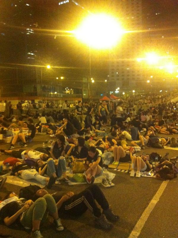 If these young HKers sleep here at all on Sunday, it will be with gas masks and umbrellas.