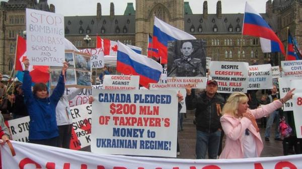 Russians hold a rally in Canada against Ukraine