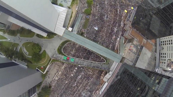 Aerial drone captures scale of Hong Kong OccupyCentral protests