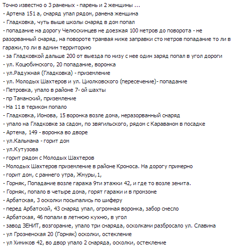 List of shell hits over Donetsk, at least 3 wounded
