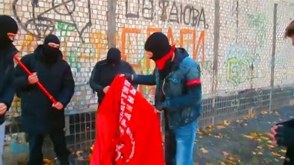 Communists' party tent was destroyed in Kharkiv