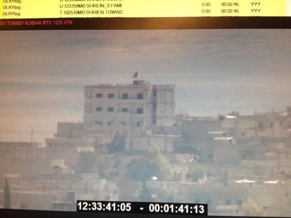 ISIS flag on building in Kobani