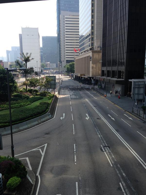 Central Hong Kong. No protestors. But the barricades remain.