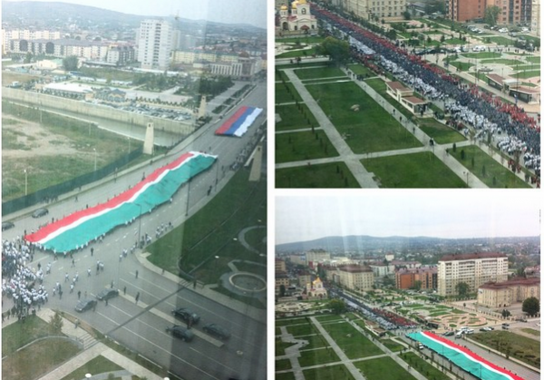 Chechnya grozny it is the procession in honor of Putins birthday