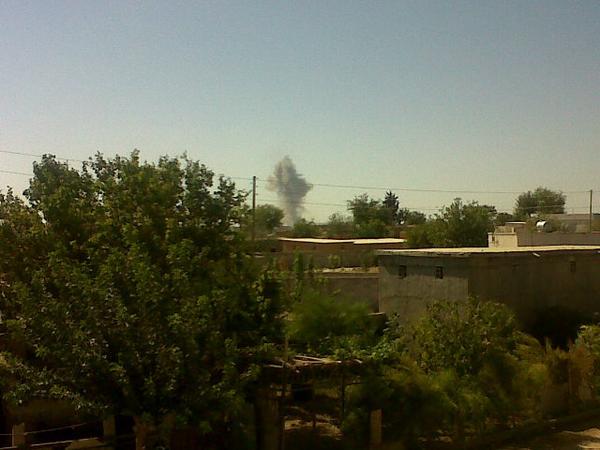 Airstrike near Kobane, western side of town. Large plume of smoke