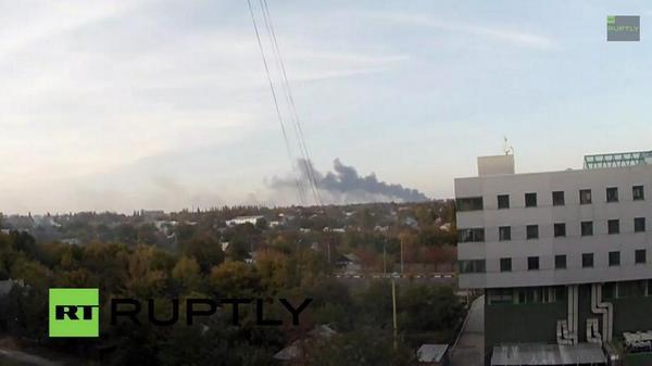 Huge plume of black smoke over Donetsk airport