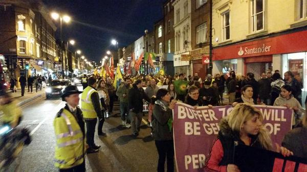 London protest thousands gatherd for kobane against isis