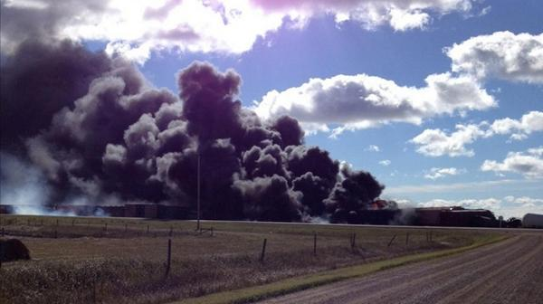 A train carrying dangerous goods has derailed in the Canadian province of Saskatchewan