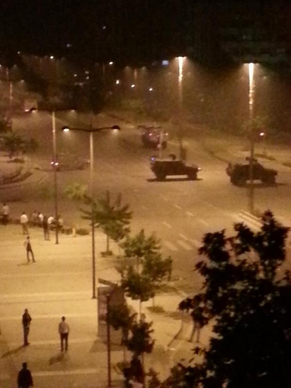 Turkish army vehicles seen driving through Istanbul