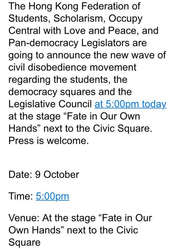 Democracy groups & leaders to host joint presser to declare new wave of civil disobedience OccupyCentral