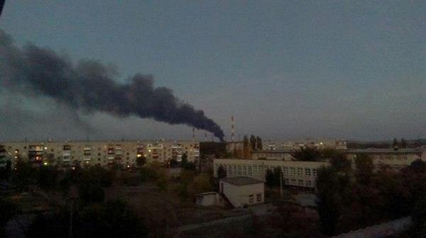 Burning Luhansk' power station